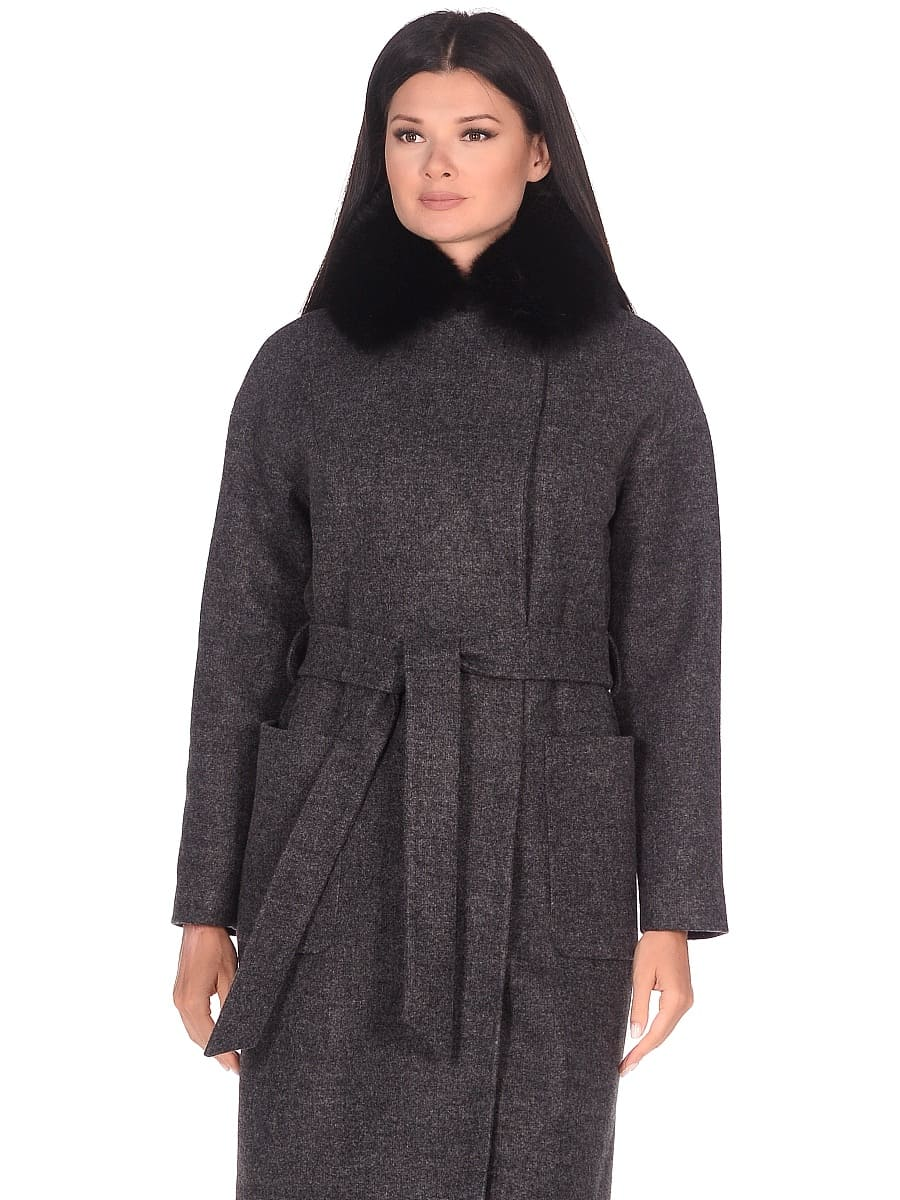 Женское зимнее пальто hr-009 серое фото-2