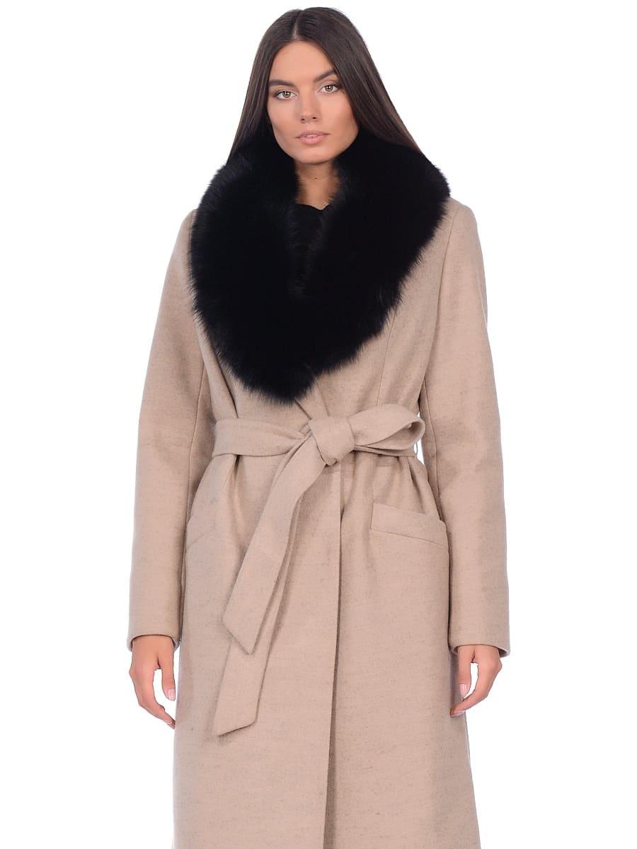 Женское зимнее пальто hr-014 светло-бежевое фото-2