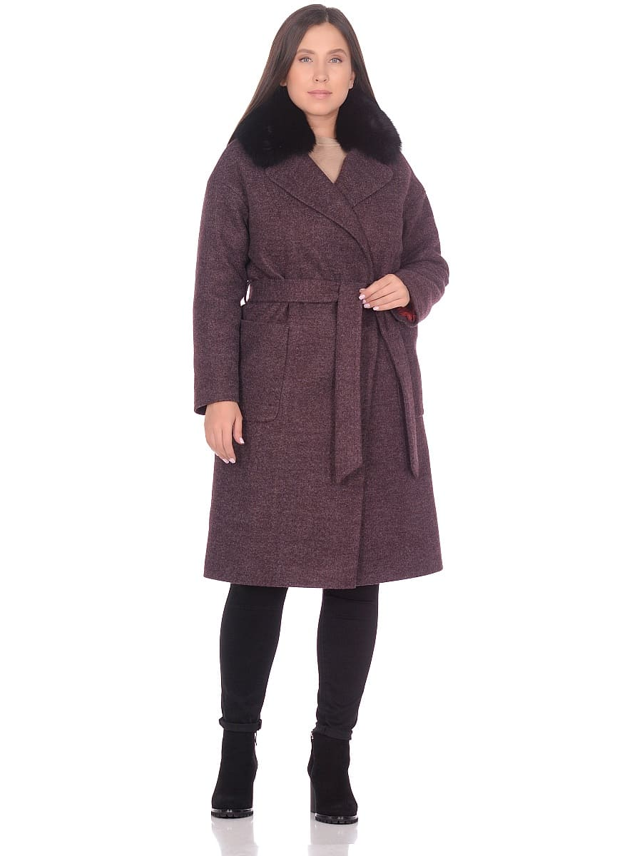 Женское зимнее пальто hr-009 сливовое фото-1