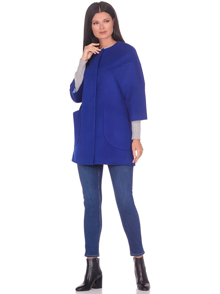 Женское демисезонное пальто hr-019 васильковое фото-1
