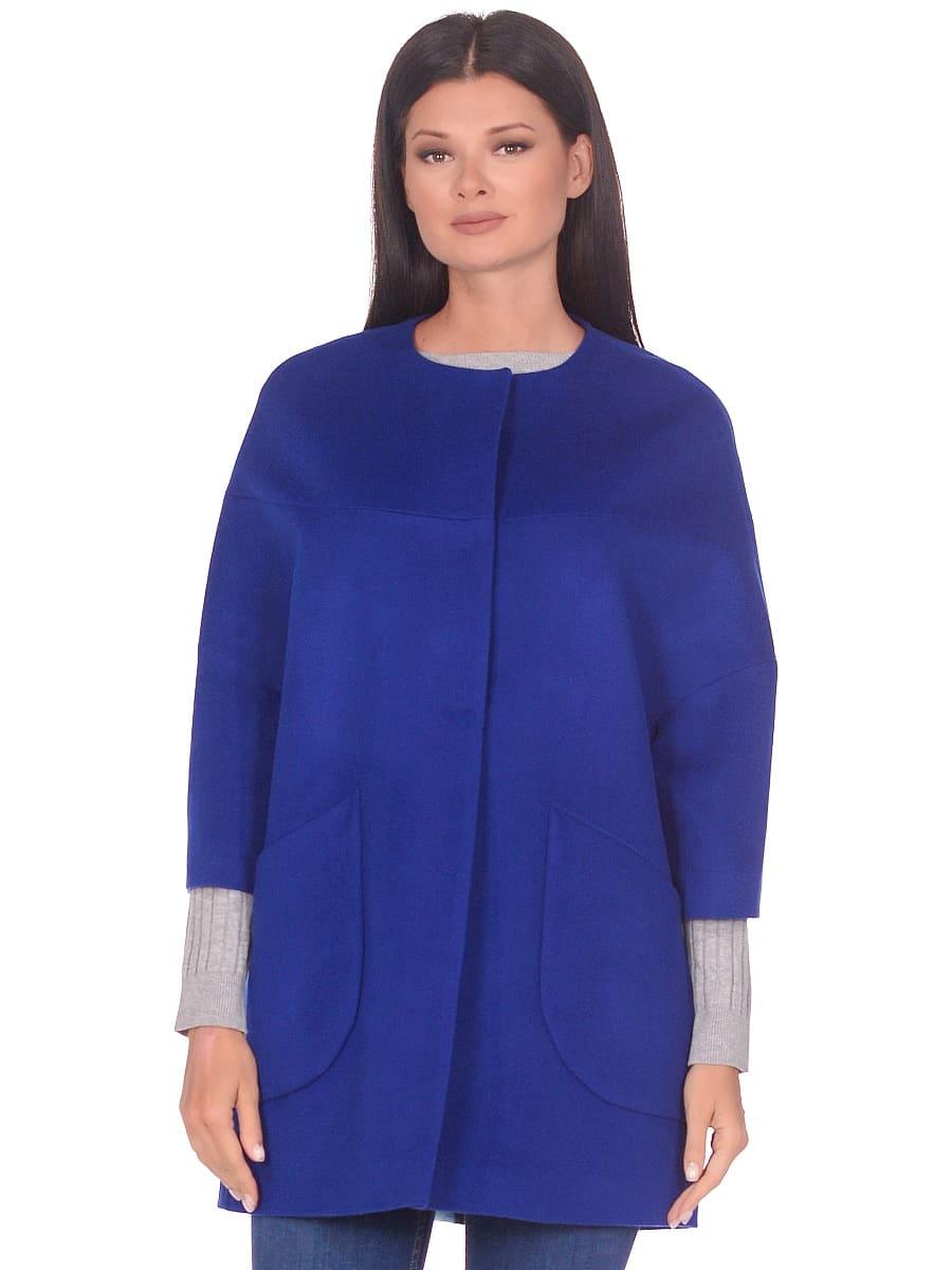 Женское демисезонное пальто hr-019 васильковое фото-2
