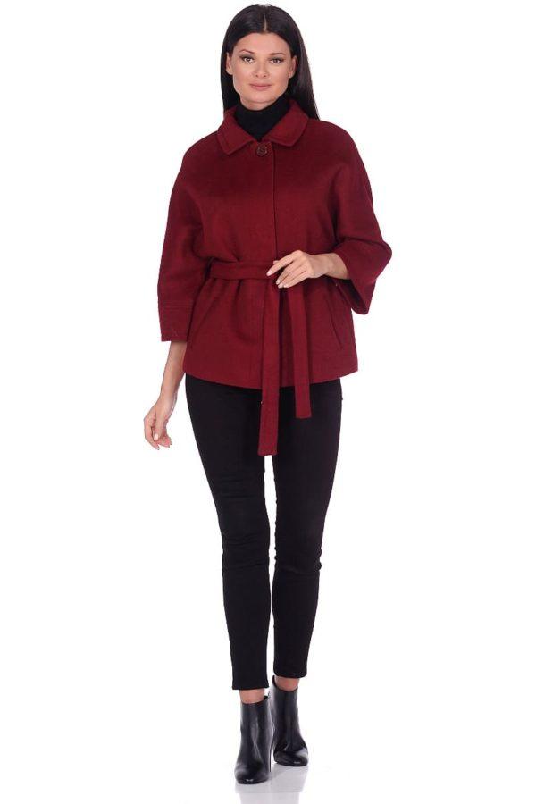 Женское демисезонное пальто hr-017A бордовое фото-1