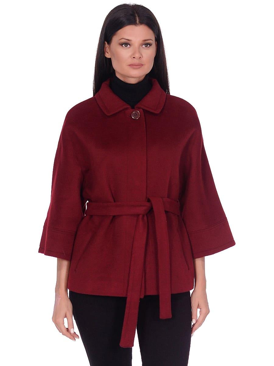 Женское демисезонное пальто hr-017A бордовое фото-2