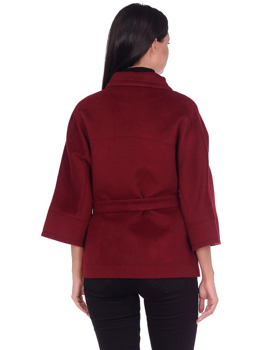 Женское демисезонное пальто hr-017A бордовое фото-3
