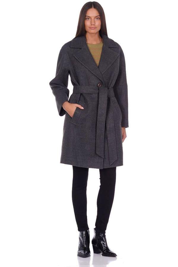 Женское демисезонное пальто hr-018 зеленое фото-1