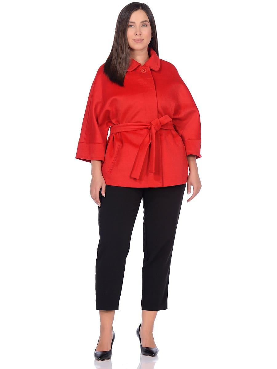 Женское демисезонное пальто hr-017A красное фото-1