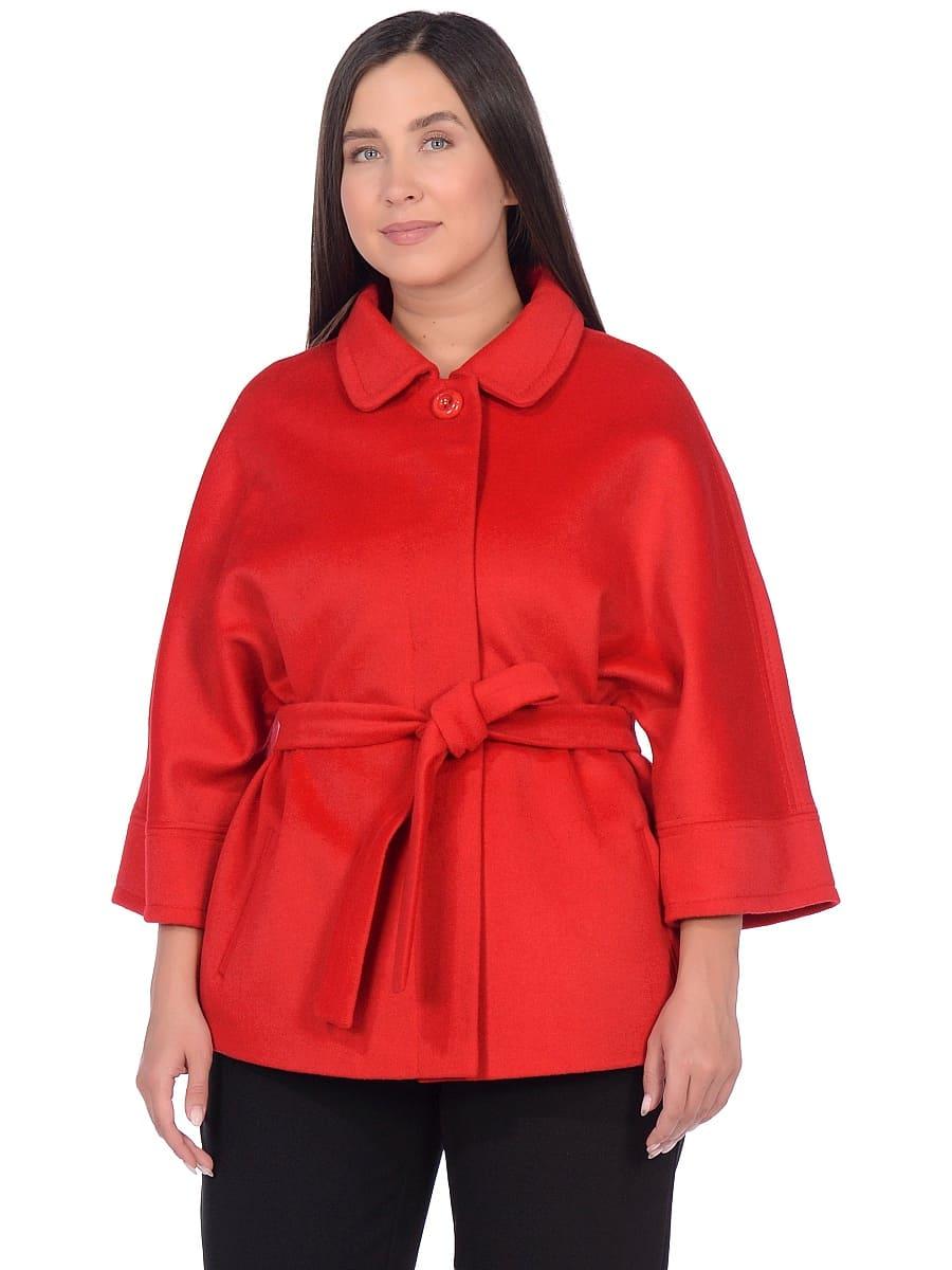 Женское демисезонное пальто hr-017A красное фото-2