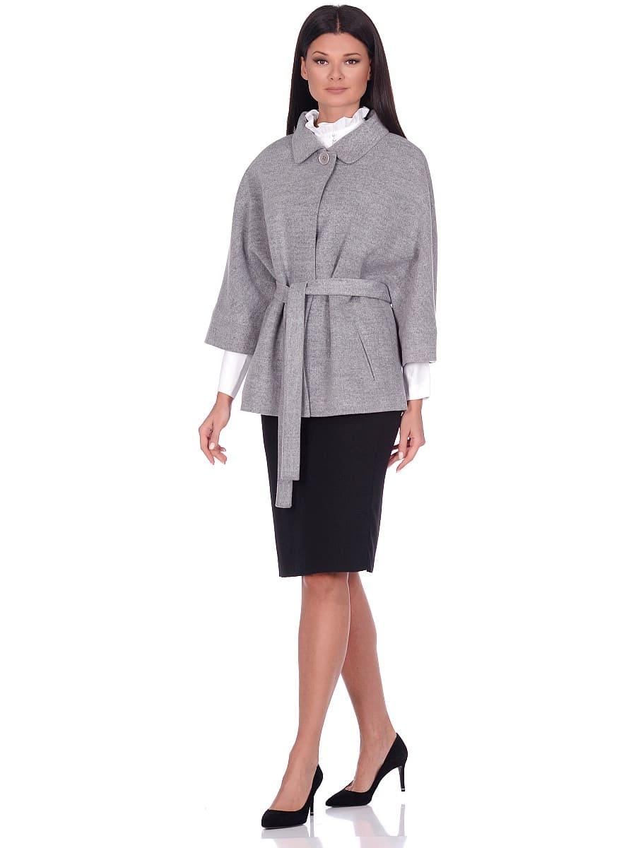 Женское демисезонное пальто hr-017A серое фото-1