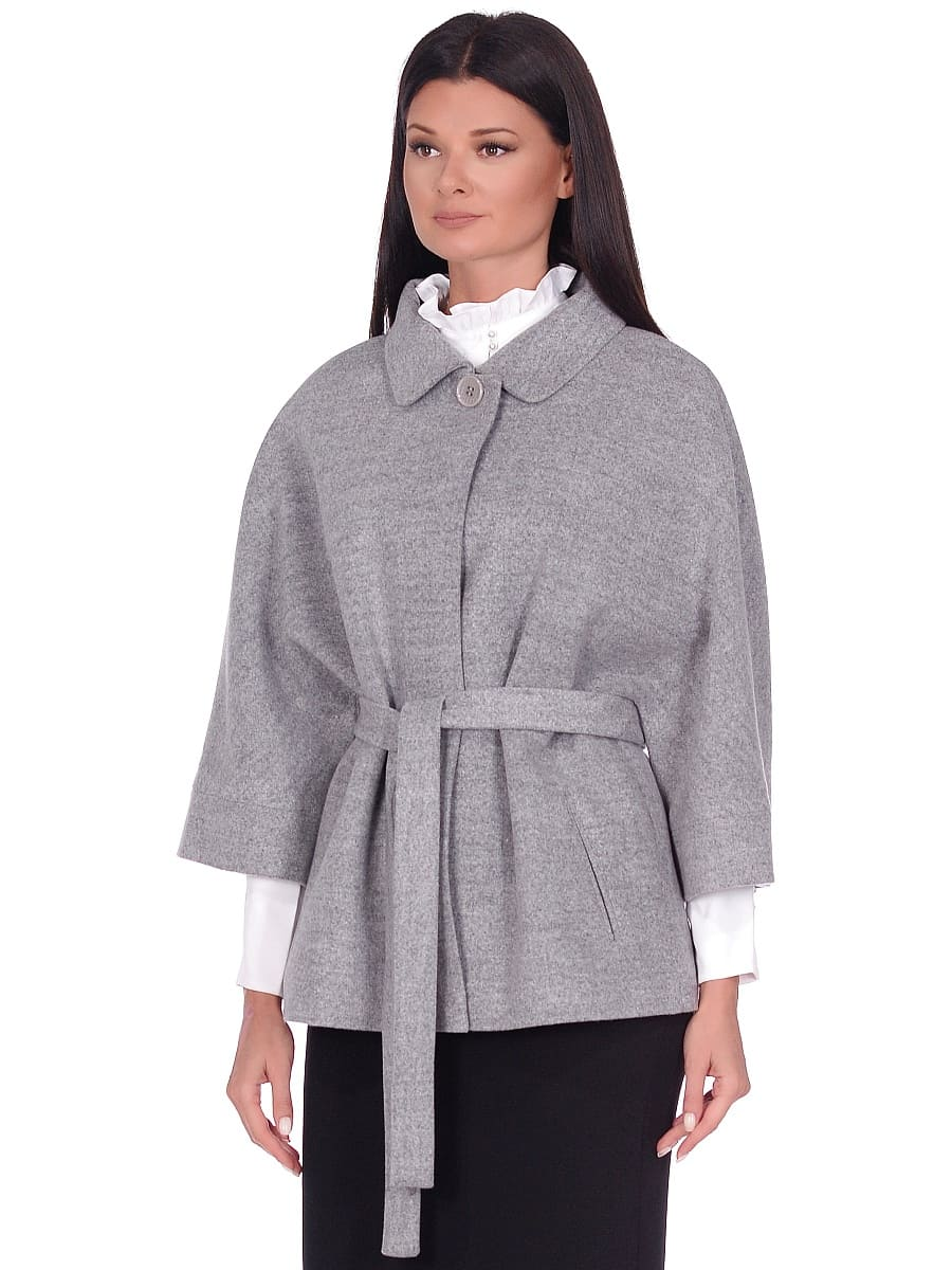 Женское демисезонное пальто hr-017A серое фото-2