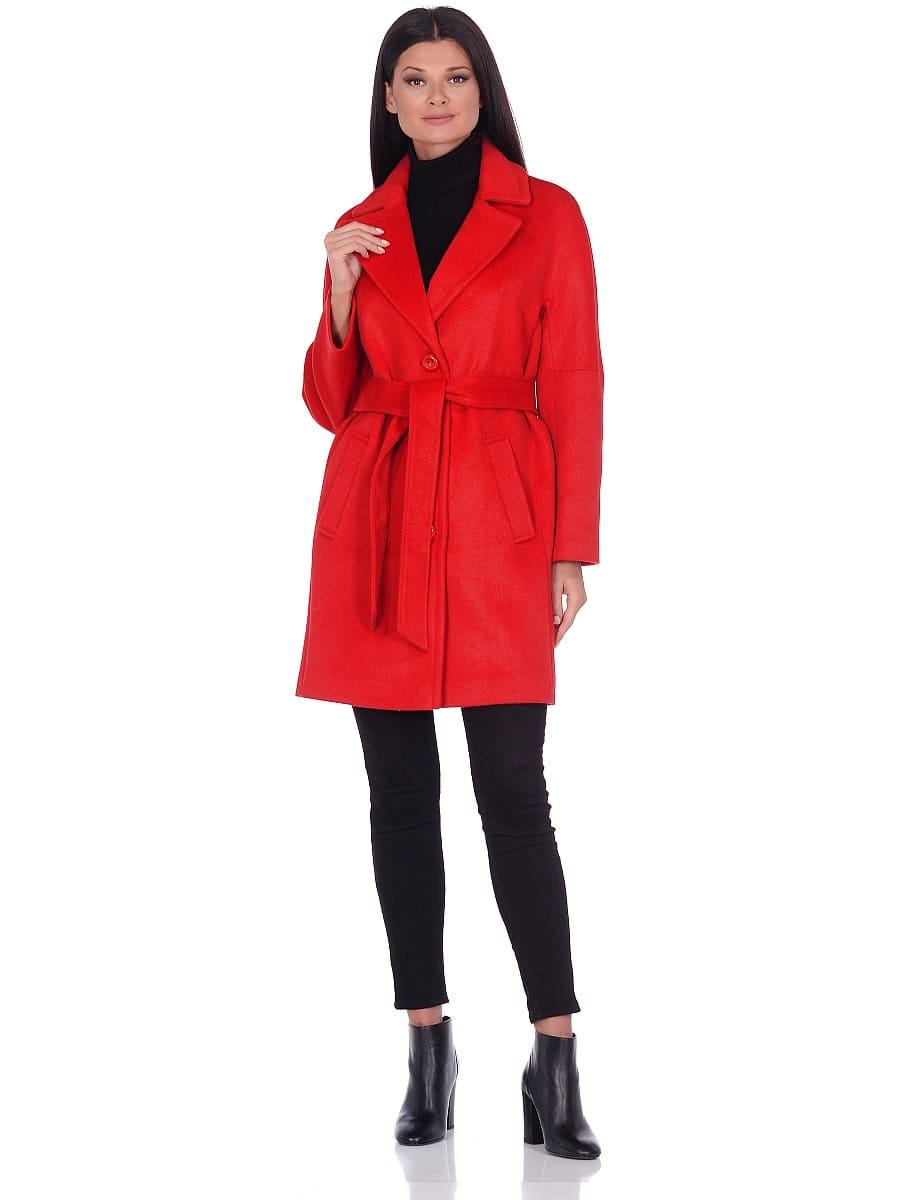 Женское демисезонное пальто hr-018 красное фото-1