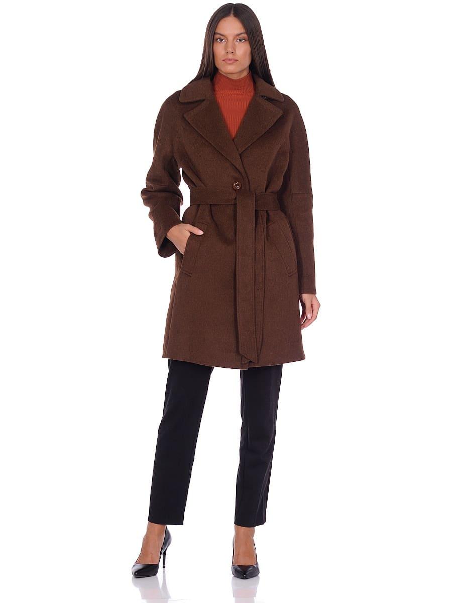 Женское демисезонное пальто hr-018 темно-коричневое фото-1