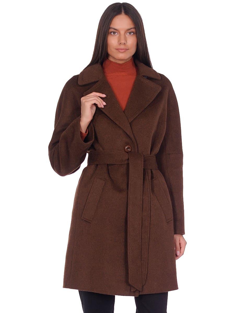 Женское демисезонное пальто hr-018 темно-коричневое фото-2