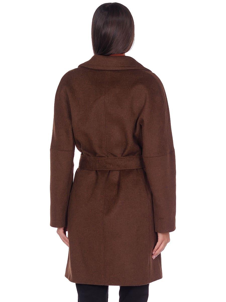 Женское демисезонное пальто hr-018 темно-коричневое фото-3