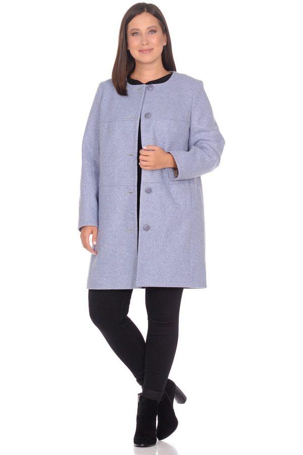 Женское демисезонное пальто hr-025 голубое фото-1