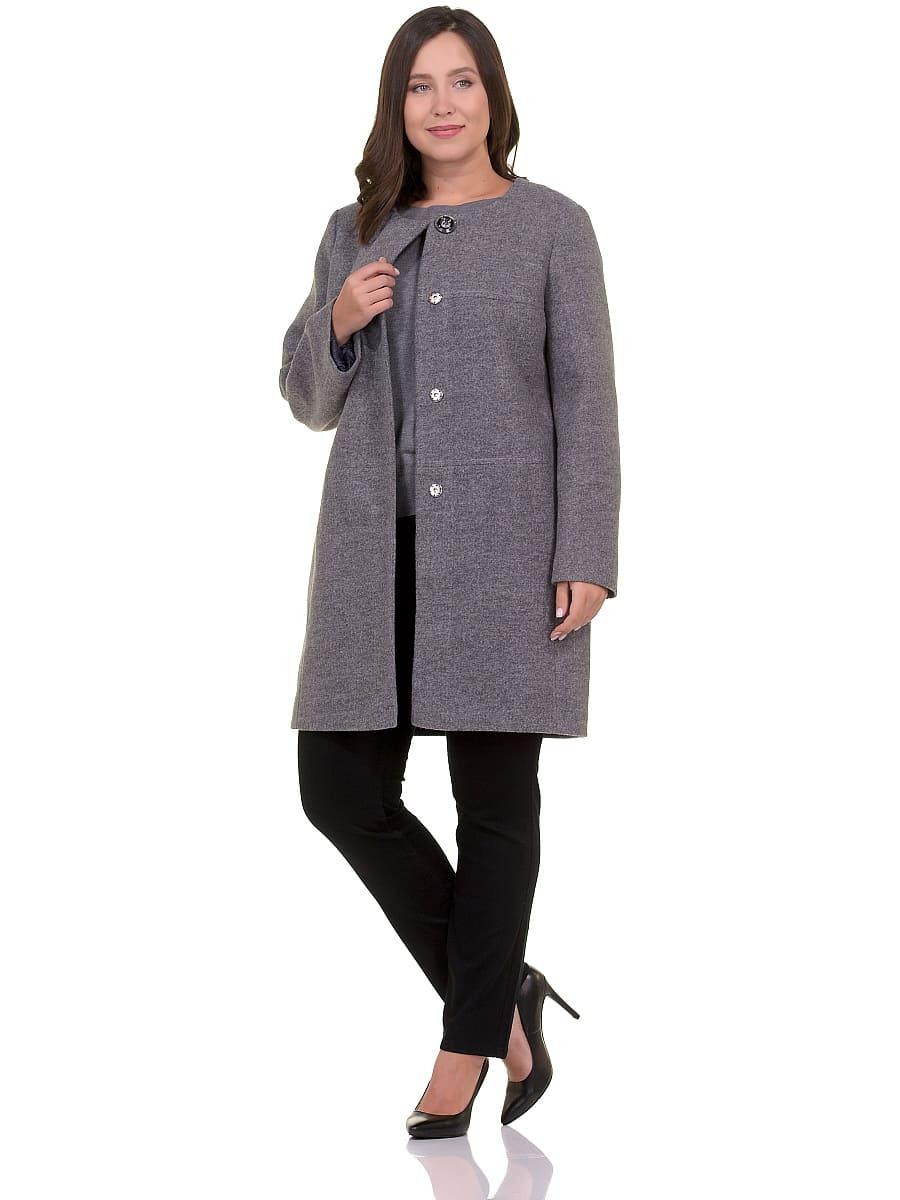Женское демисезонное пальто hr-025 серое фото-1