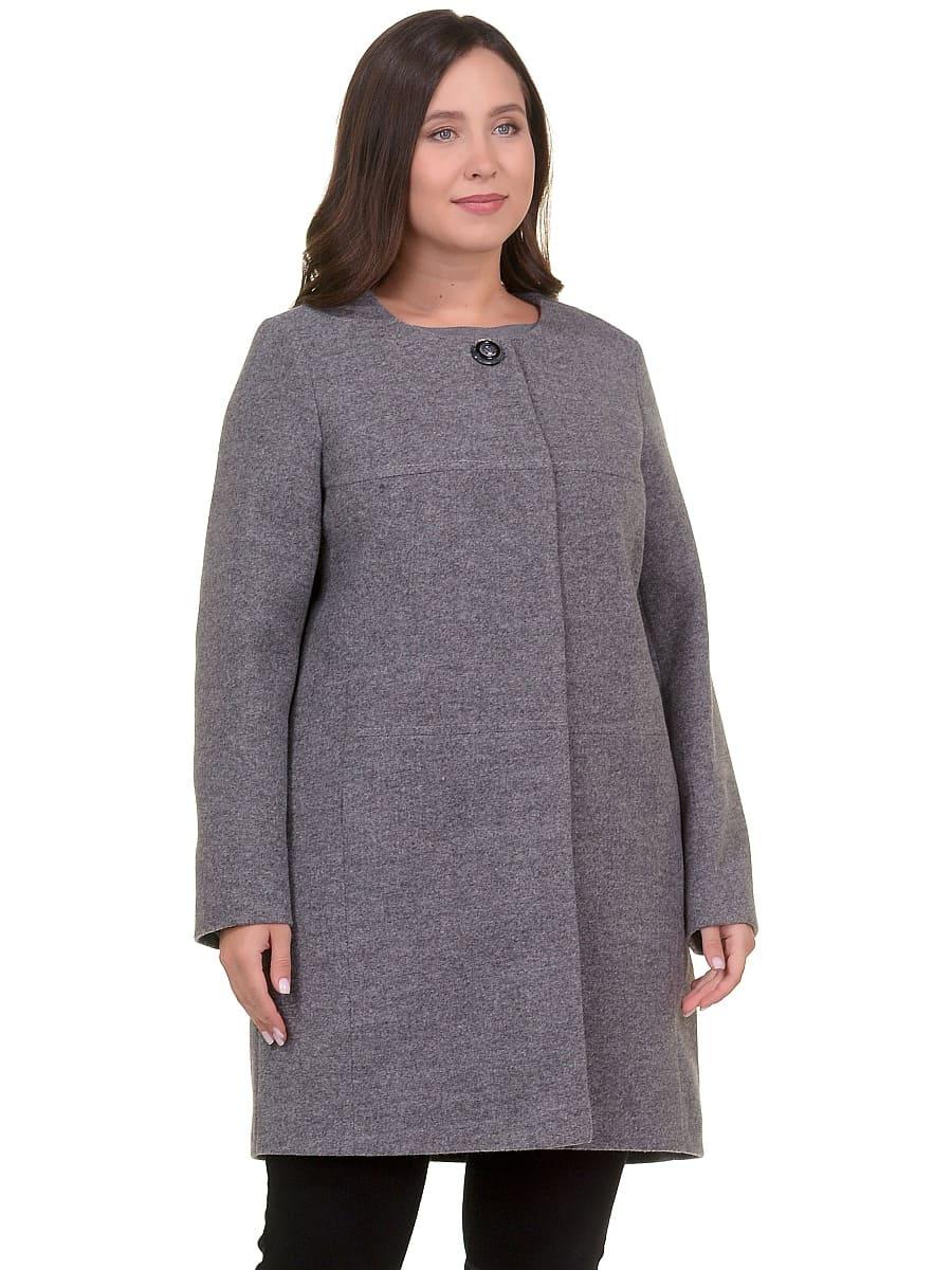 Женское демисезонное пальто hr-025 серое фото-2