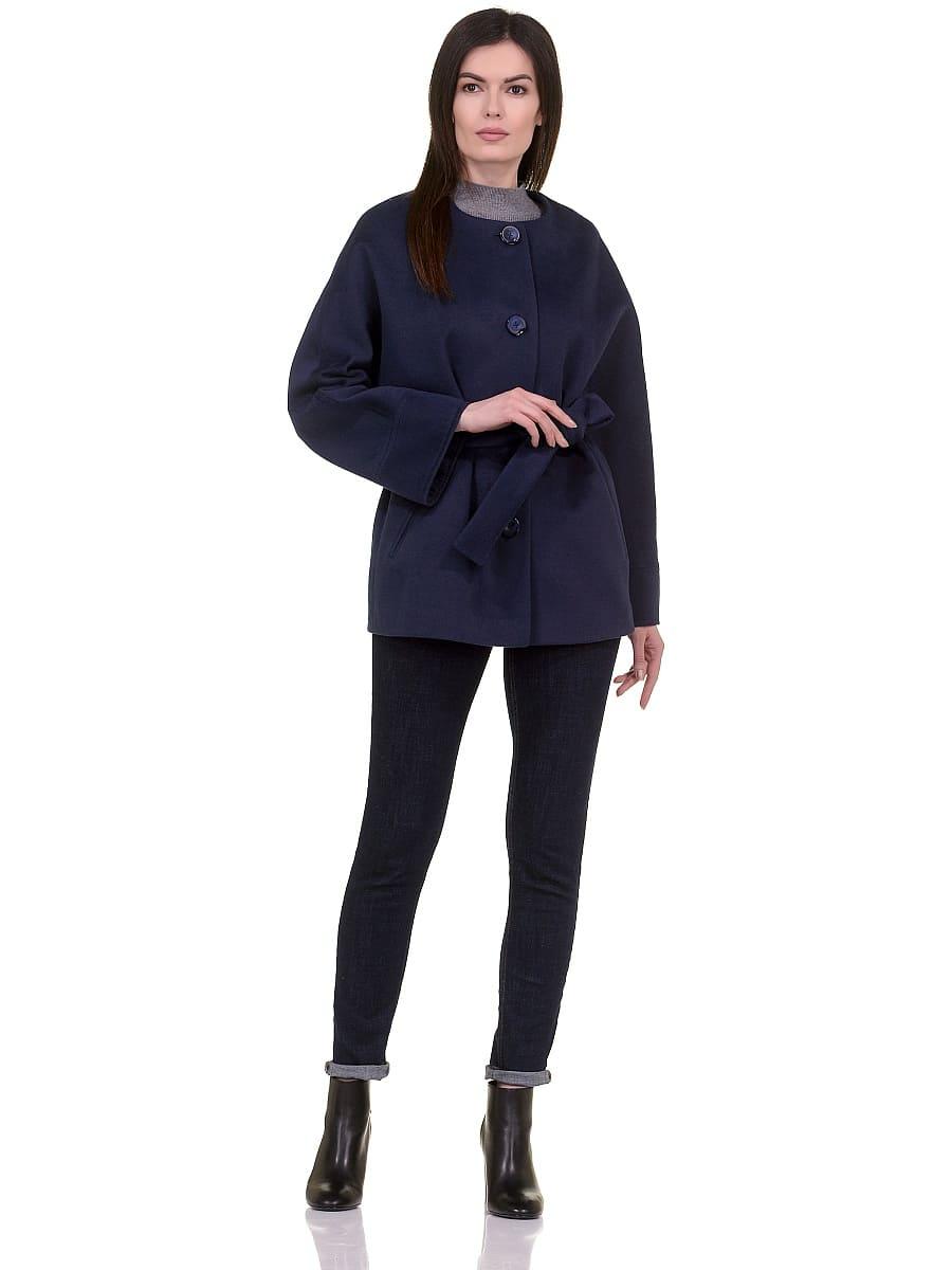 Женское демисезонное пальто hr-028a синее фото-1