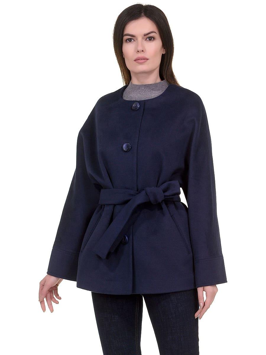 Женское демисезонное пальто hr-028a синее фото-2