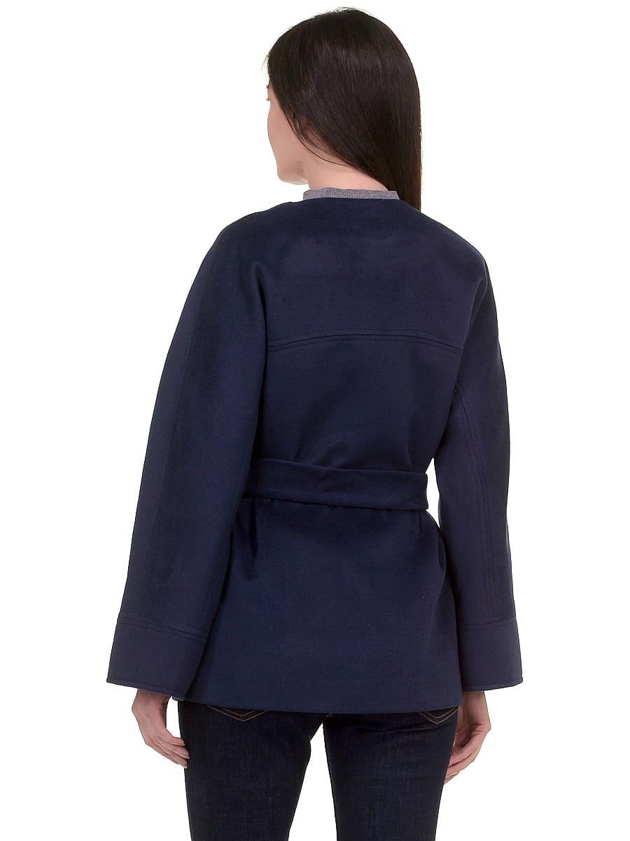 Женское демисезонное пальто hr-028a синее фото-3