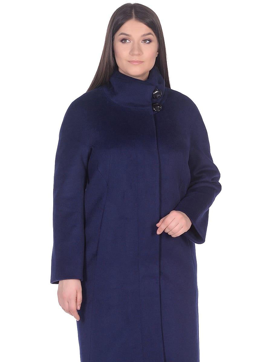 Женское демисезонное пальто hr-031 синее фото-2