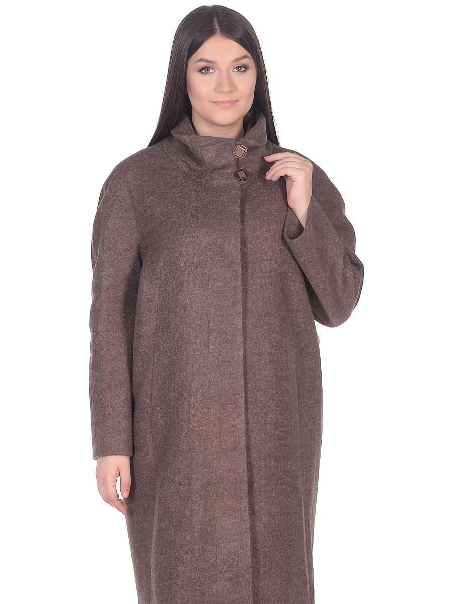 Женское демисезонное пальто hr-031a коричневое фото-2