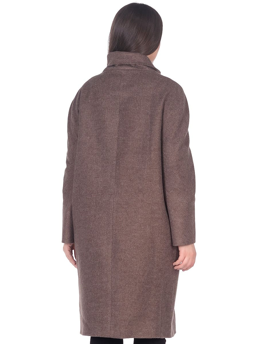Женское демисезонное пальто hr-031a коричневое фото-3