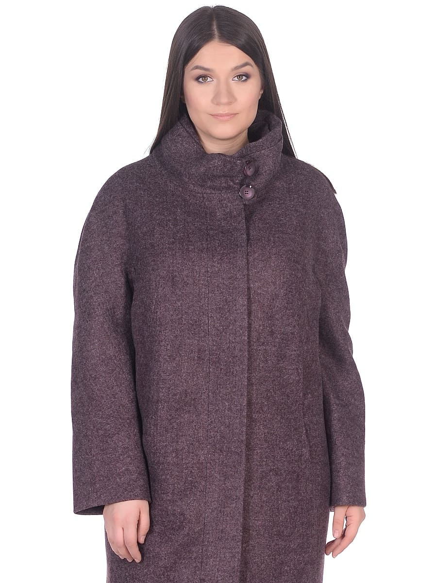 Женское демисезонное пальто hr-031a сливовое фото-2