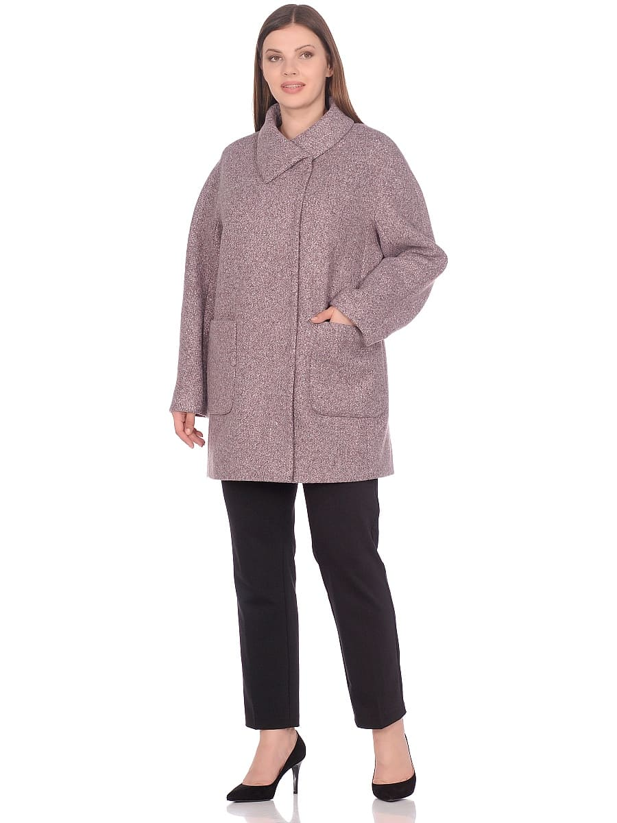 Женское демисезонное пальто hr-023a розовое фото-1