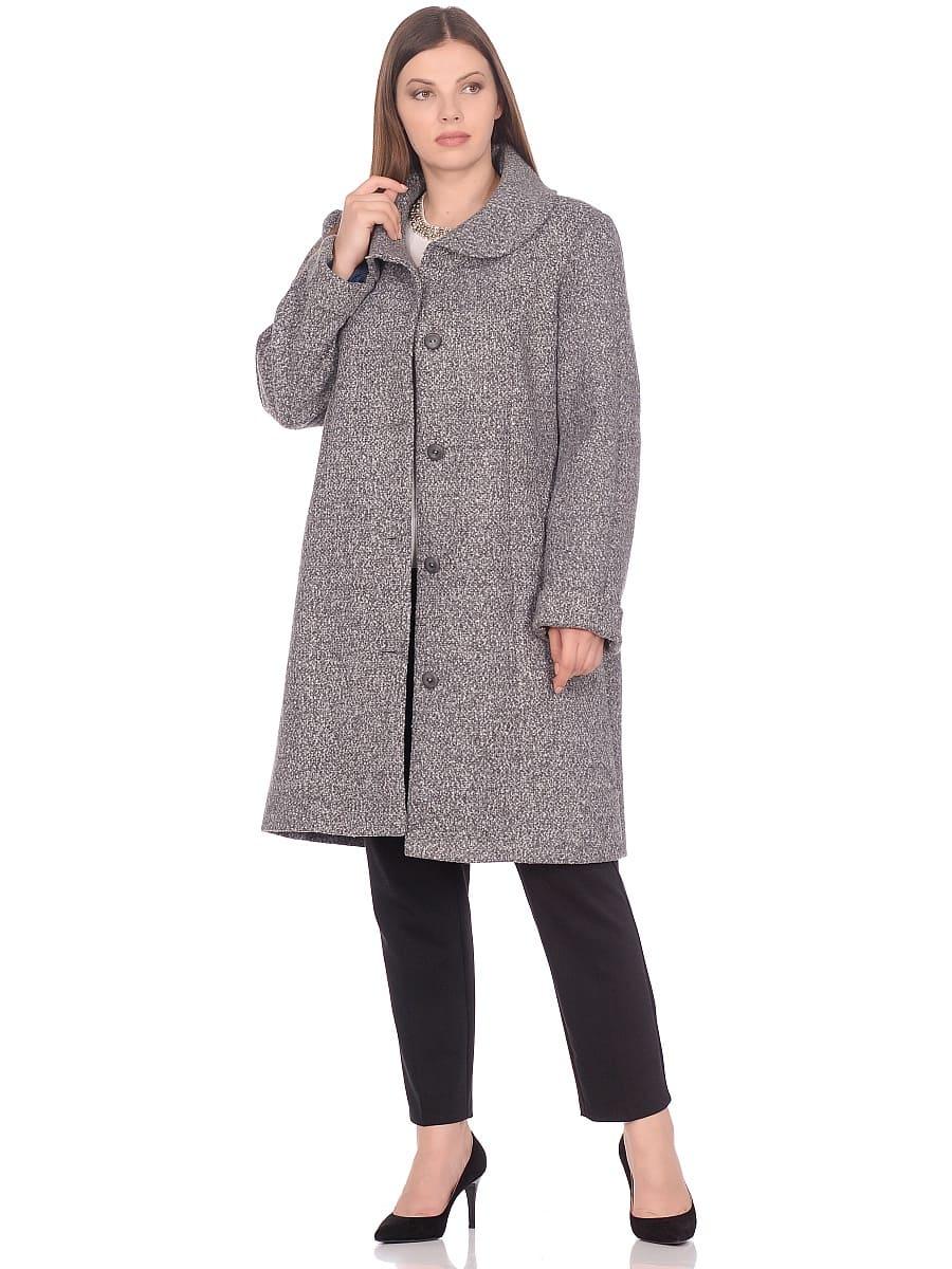 Женское демисезонное пальто hr-024 серое фото-1