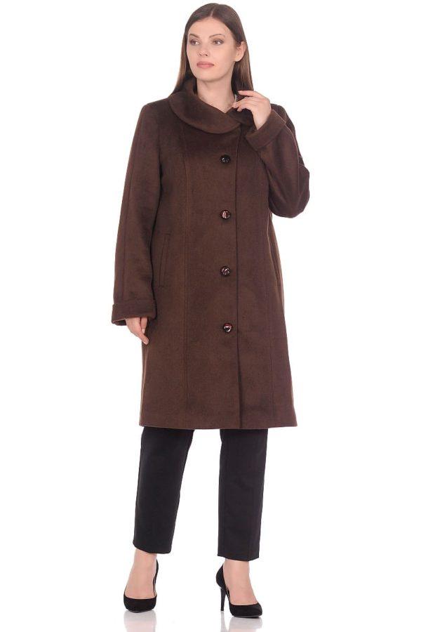Женское демисезонное пальто hr-024a коричневое фото-1