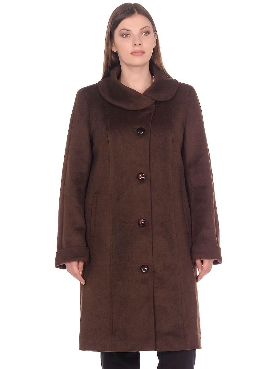Женское демисезонное пальто hr-024a коричневое фото-2
