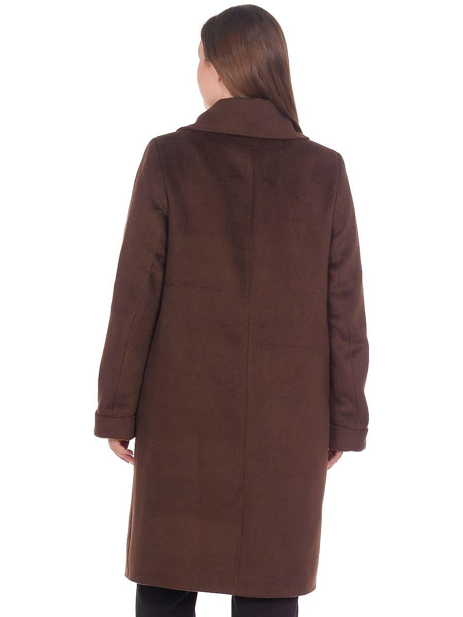 Женское демисезонное пальто hr-024a коричневое фото-3