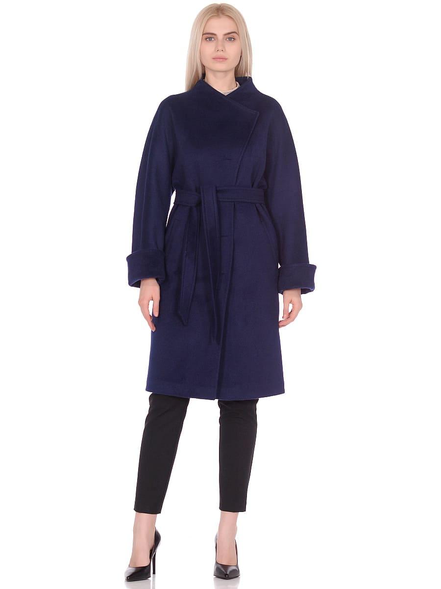 Женское демисезонное пальто hr-026 синее фото-1