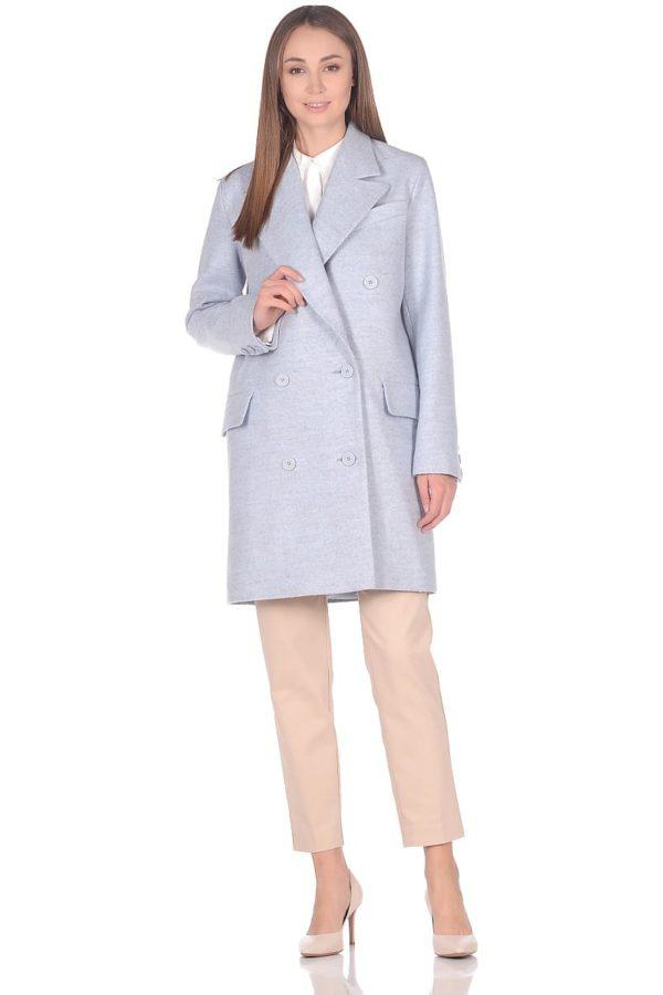 Женское демисезонное пальто hr-027 голубое фото-1