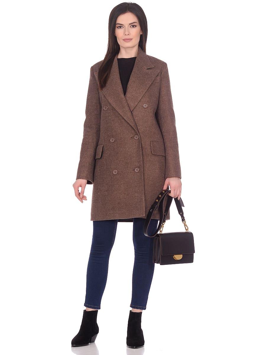 Женское демисезонное пальто hr-027 коричневое фото-1