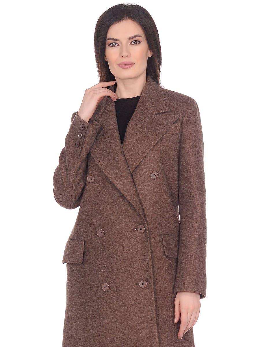 Женское демисезонное пальто hr-027 коричневое фото-2