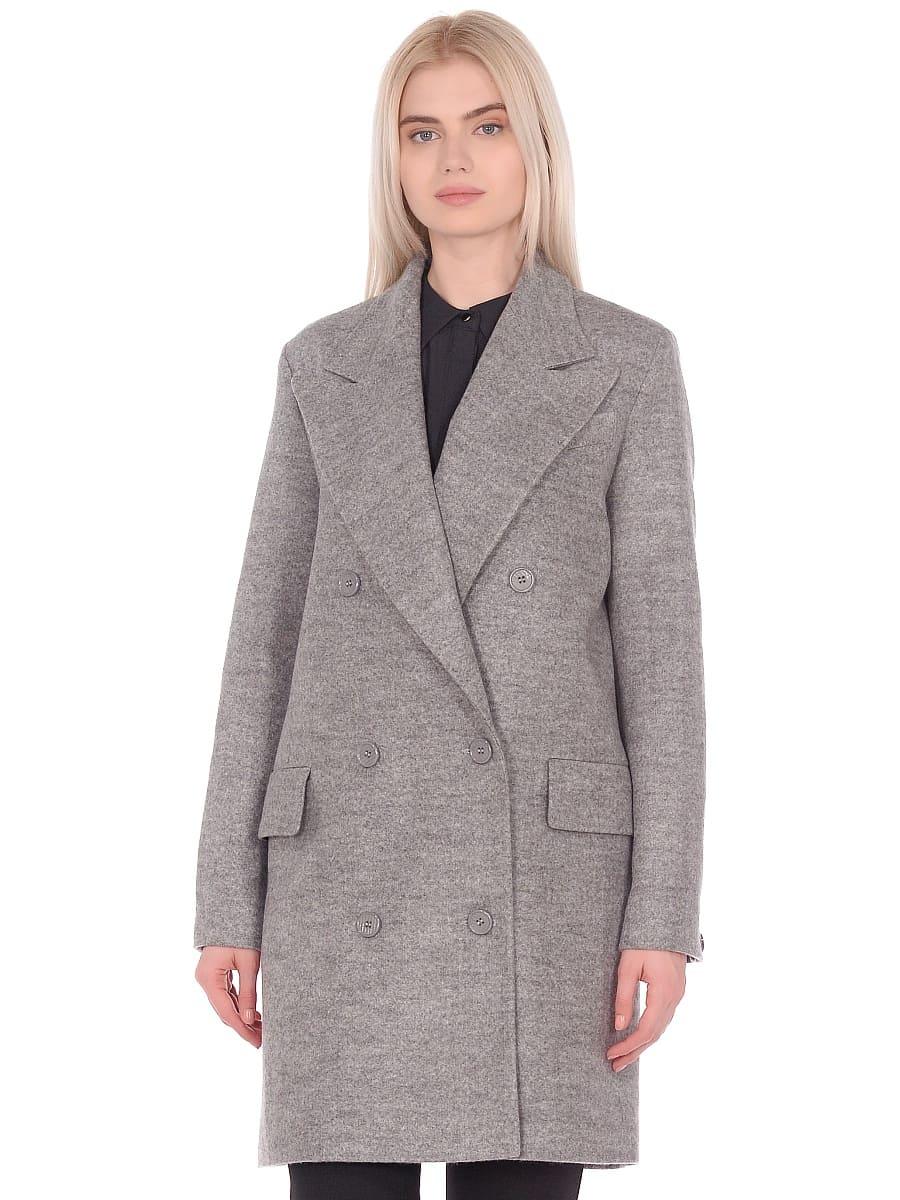 Женское демисезонное пальто hr-027 светло-серое фото-2