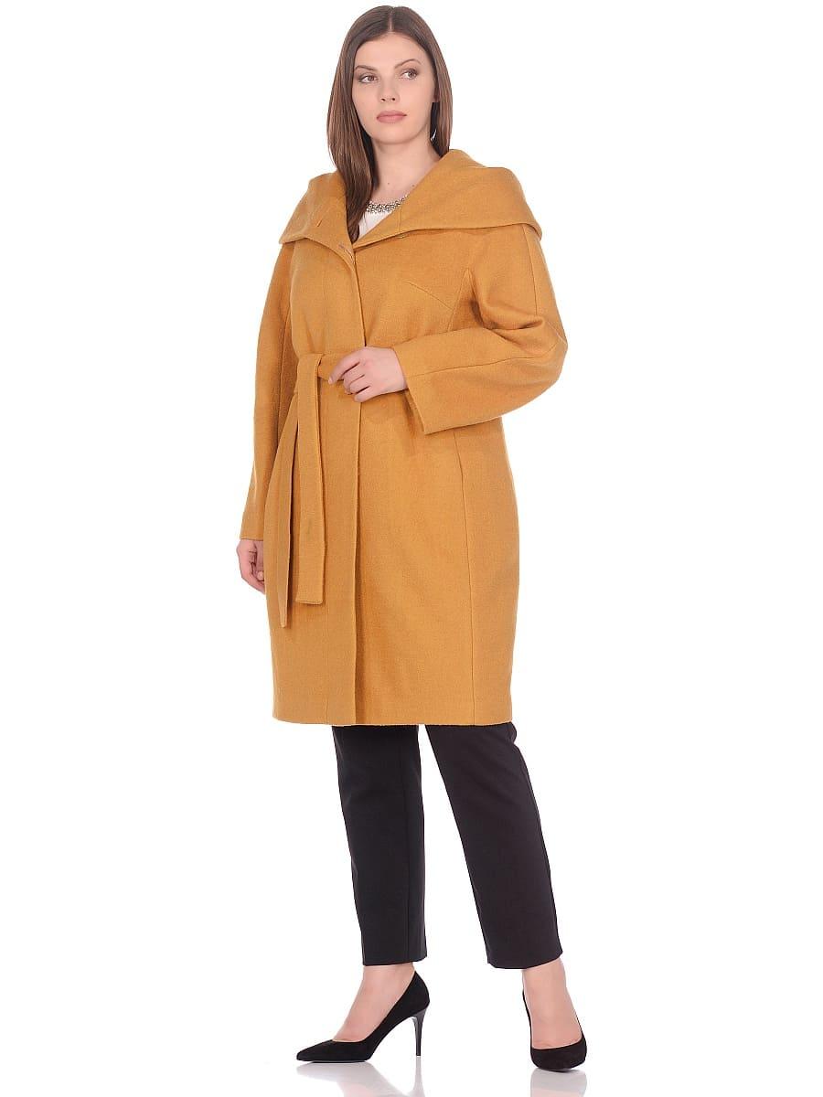 Женское демисезонное пальто hr-033 горчичное фото-1