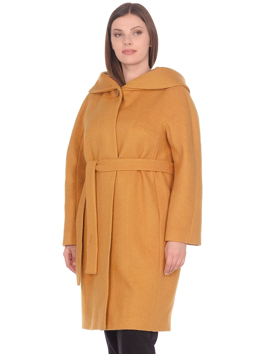 Женское демисезонное пальто hr-033 горчичное фото-2