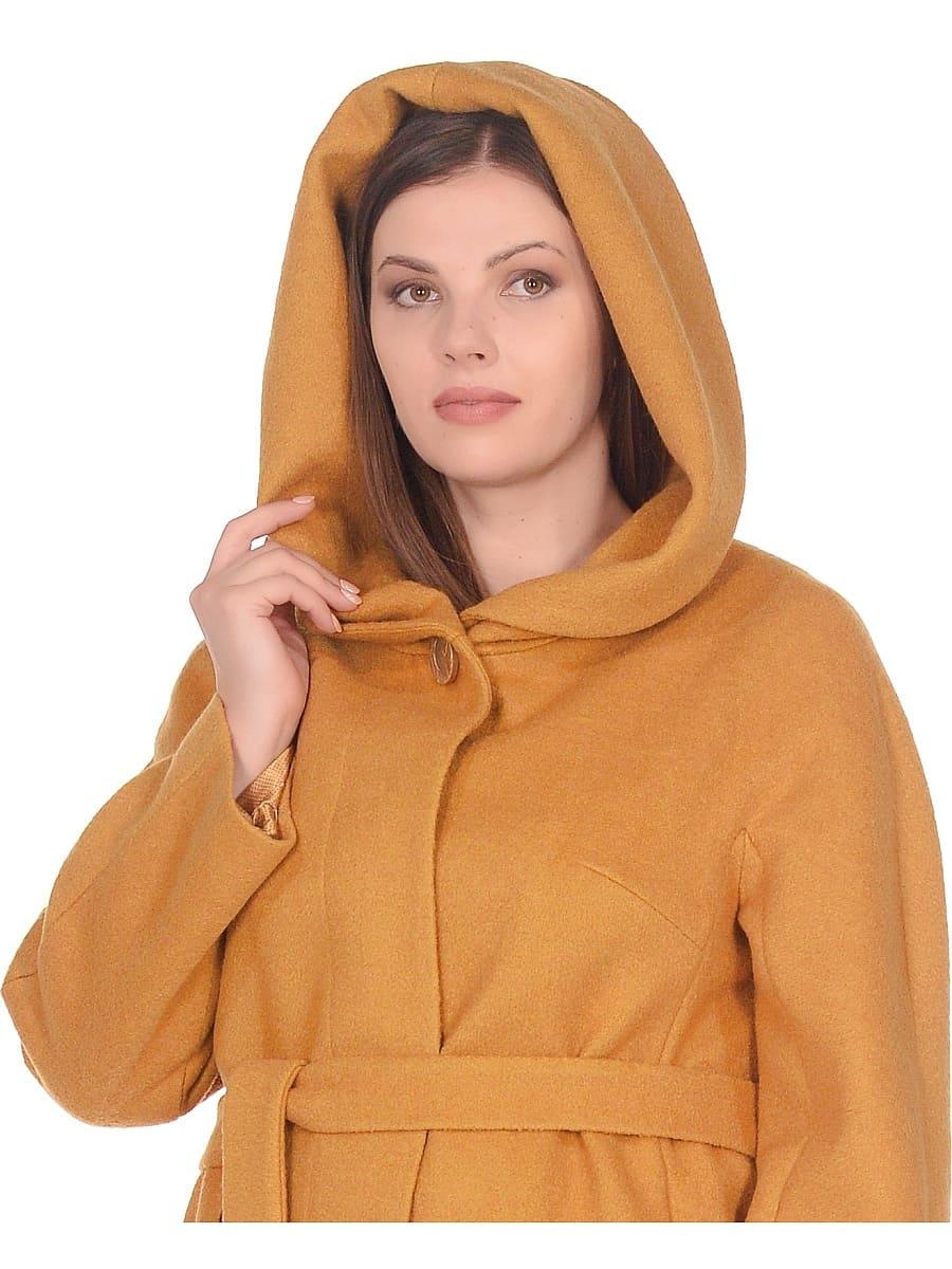 Женское демисезонное пальто hr-033 горчичное фото-4