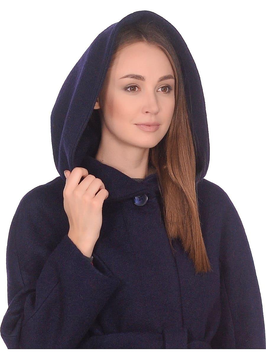 Женское демисезонное пальто hr-033 синее фото-4