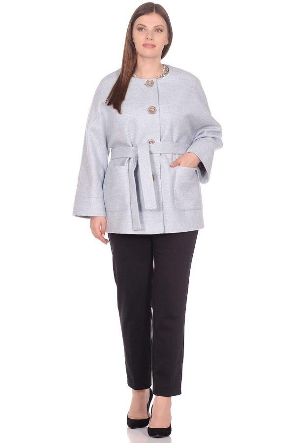 Женское демисезонное пальто hr-035 голубое фото-1