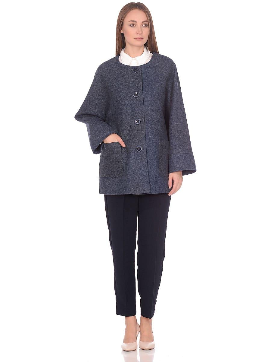 Женское демисезонное пальто hr-035 синее фото-1
