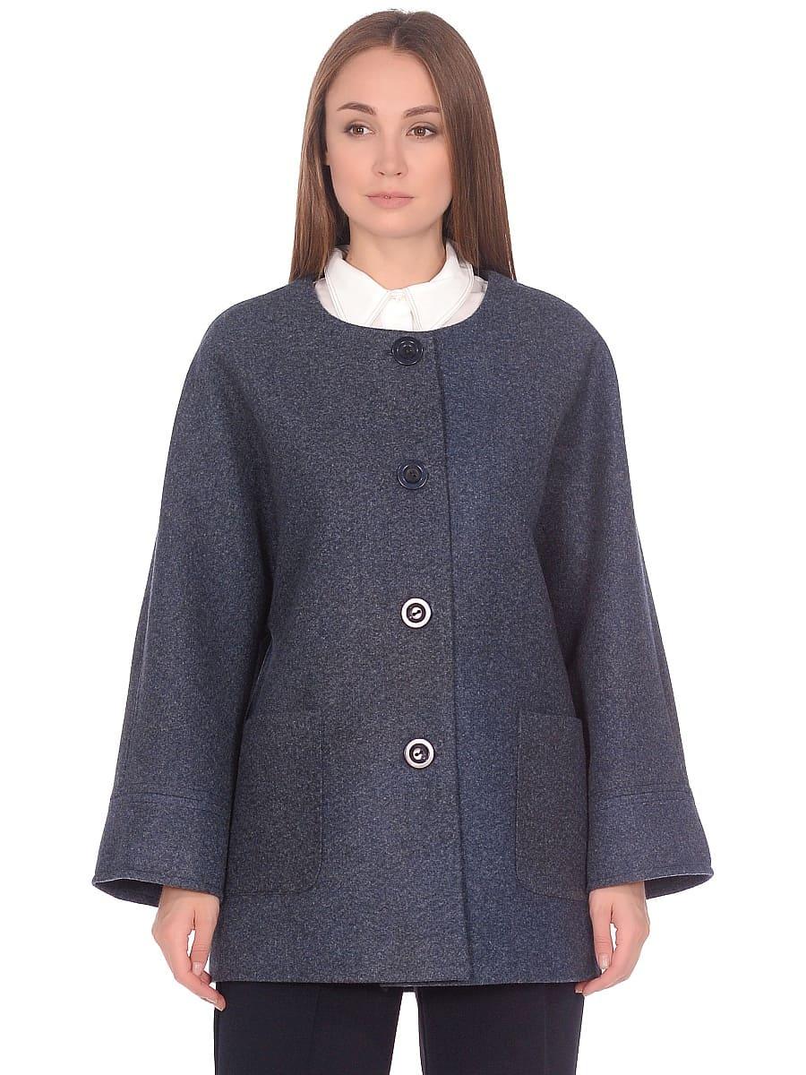 Женское демисезонное пальто hr-035 синее фото-2