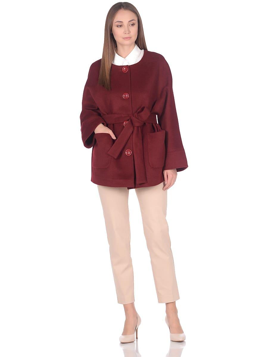 Женское демисезонное пальто hr-035a бордовое фото-1