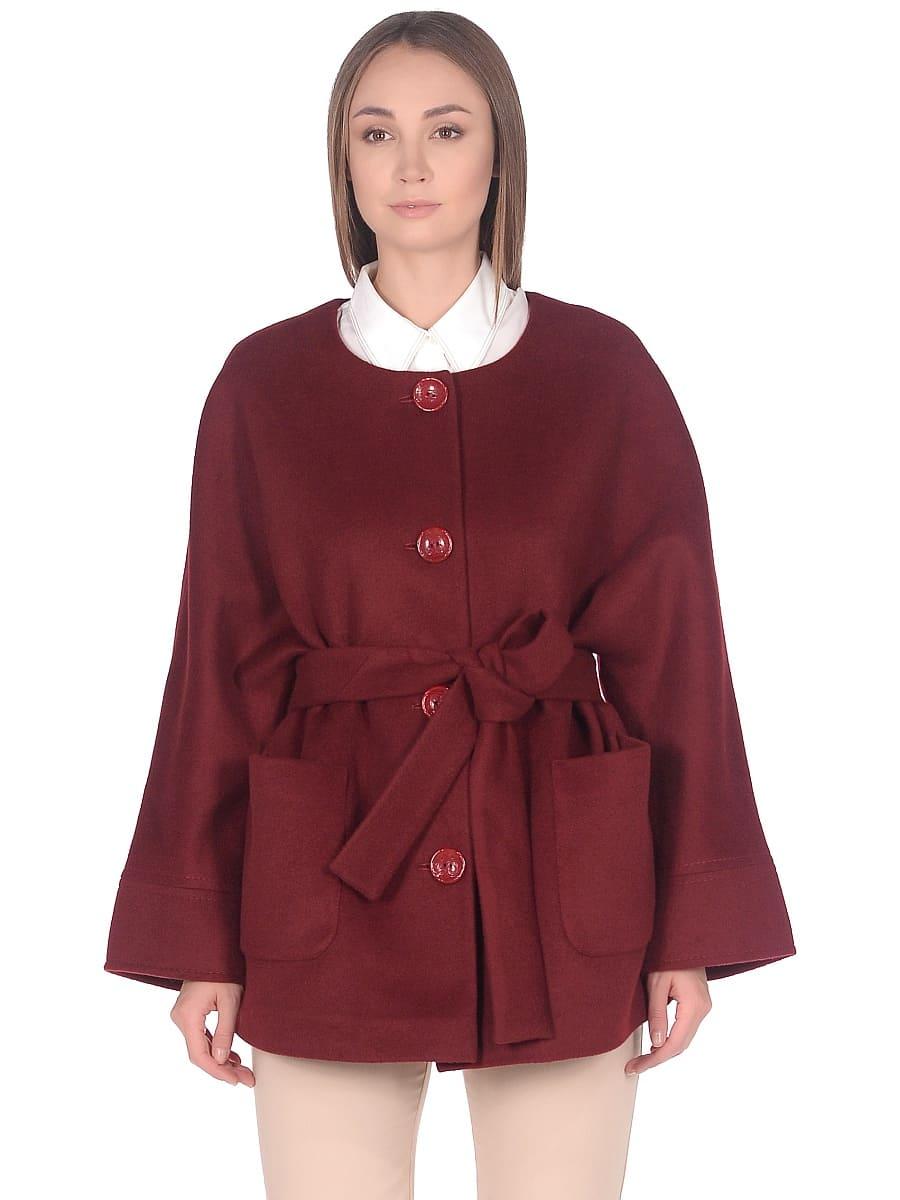 Женское демисезонное пальто hr-035a бордовое фото-2