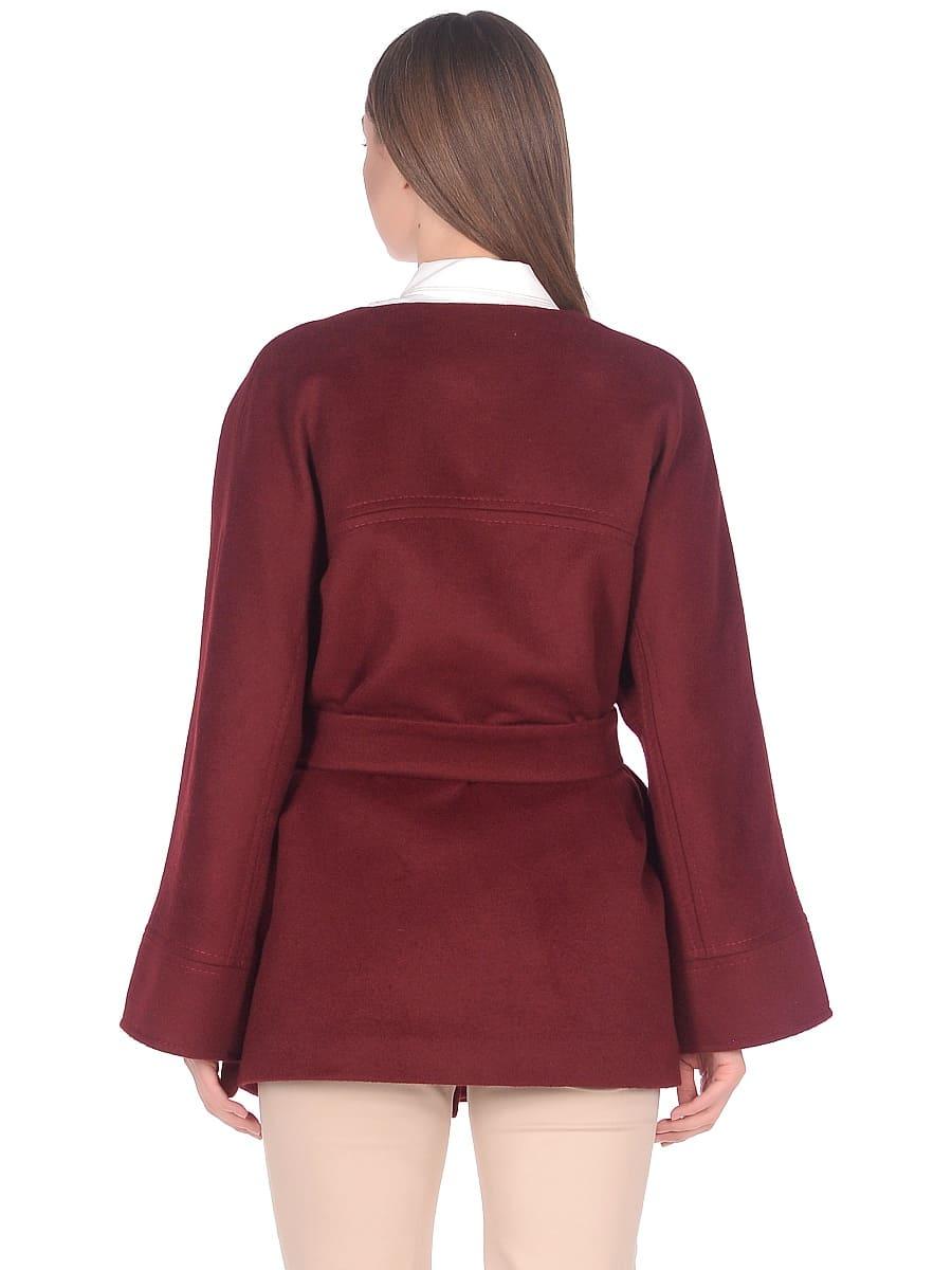 Женское демисезонное пальто hr-035a бордовое фото-3