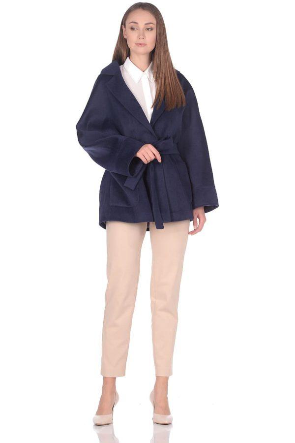 Женское демисезонное пальто hr-036a синее фото-1