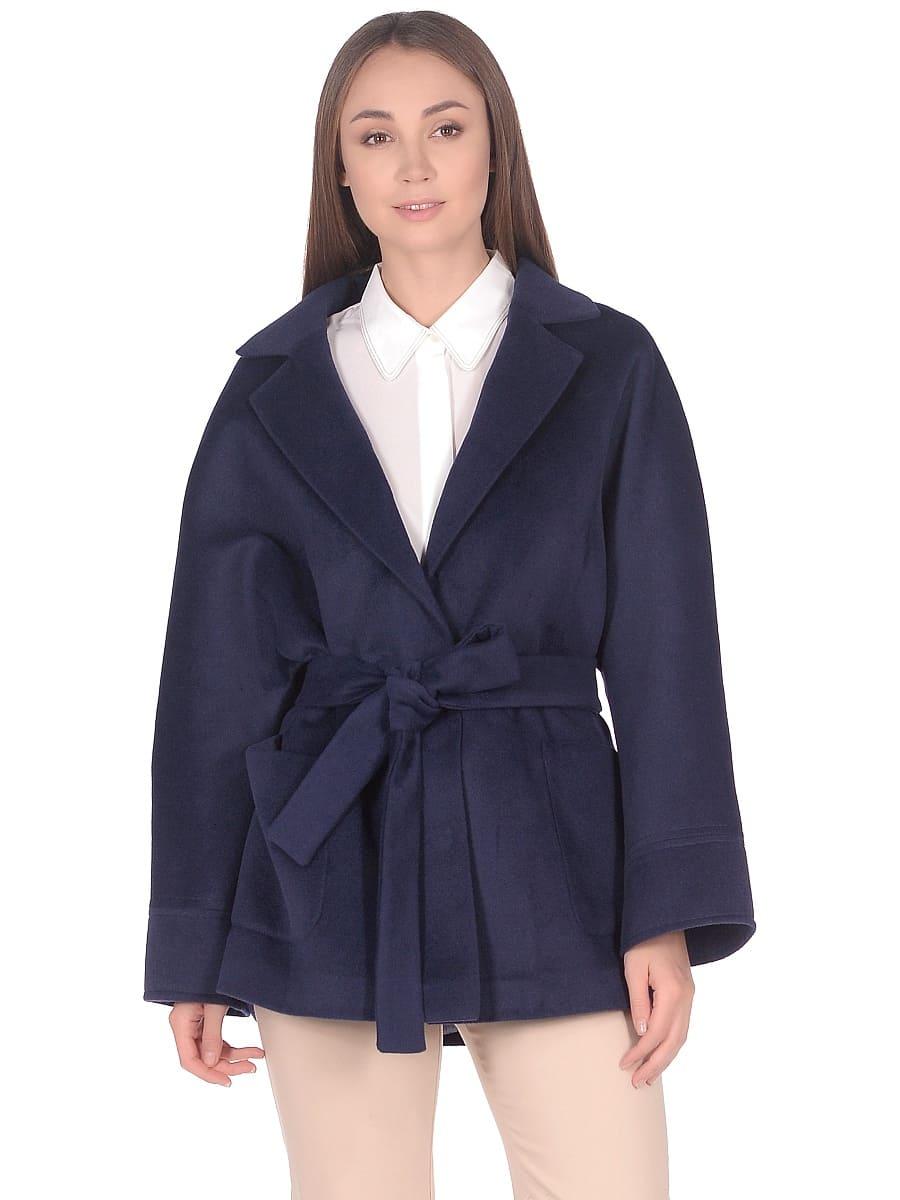 Женское демисезонное пальто hr-036a синее фото-2