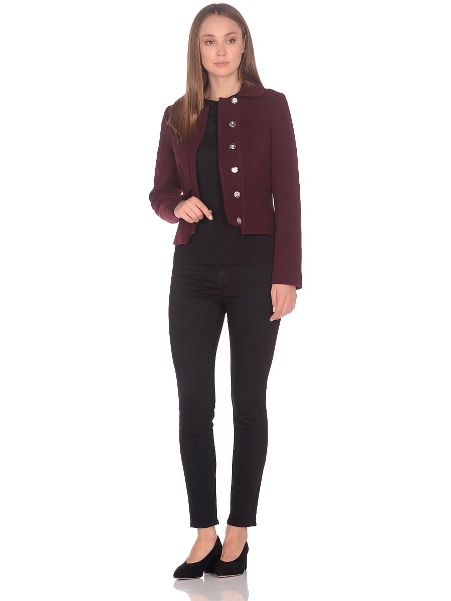 Женское демисезонное пальто hr-037 бордовое фото-1